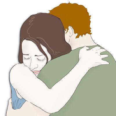 Paar umarmt sich, Illustration von Heike Seelig