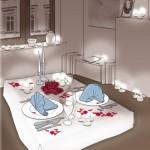 Illustration eines gedeckten Tisches, von Heike Seelig