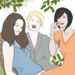 3 junge Frauen quatschen, Illustration von Heike Seelig