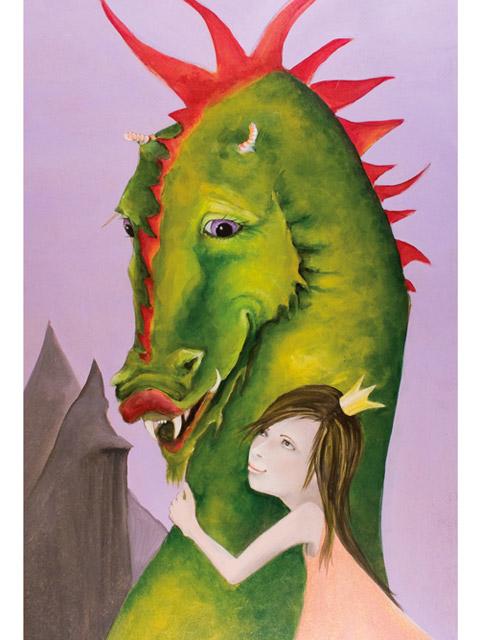 Kind umarmt Drachen Acrylbild auf Holz von Heike Seelig
