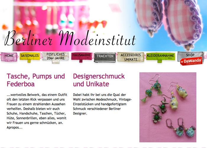 Webseite Berliner Modeinstitut