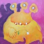 Schutzmonster mit Goldzahn, Kinderbild Acryl von Heike Seelig