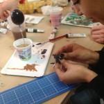 Arbeit im Atelier beim Mittelpünktchen Kreativworkshop