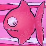 Roter Fisch mit Zähnen, Acryl auf Holz
